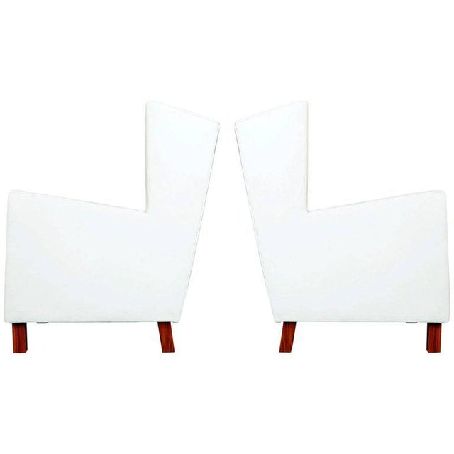 Jacaranda and White Leather Wingback Armchairs, Brazil, Circa 1960 For Sale - Image 10 of 10