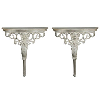 French Wall-Mounted Highly Carved Consoles with Marble Tops - A Pair For Sale