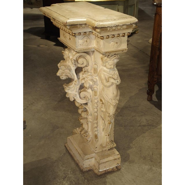 Antique Painted Napoleon III Wall Console Pedestal, Circa 1860 For Sale - Image 4 of 13