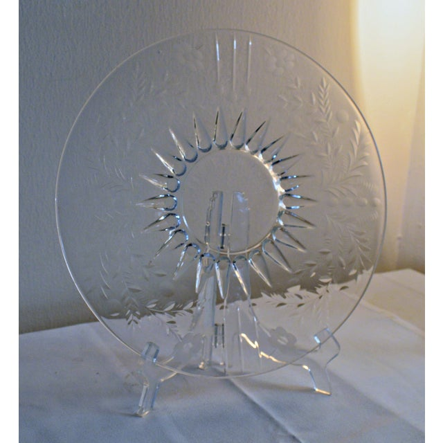 Vintage Clear Etched Glass Server Plate For Sale - Image 5 of 7