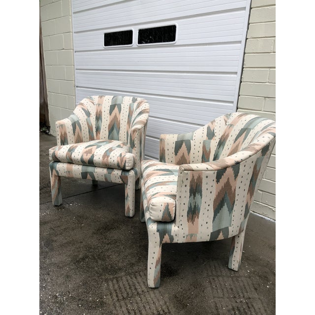 Textile Clyde Pearson for Lane Upholstered Club Chairs - A Pair For Sale - Image 7 of 8