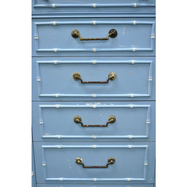 Metal 20th Century Chinese Thomasville Allegro Faux Bamboo 7-Drawer Blue Painted Tall Lingerie Chest For Sale - Image 7 of 11