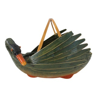 Vintage Handmade Basket of Duck by Zhejiang Handicrafts for Ben Rickert, Inc. For Sale