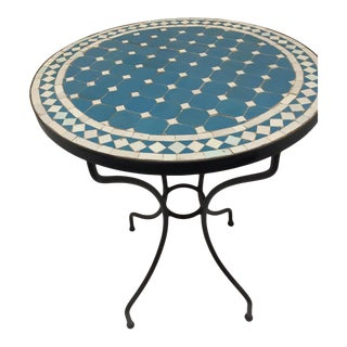 20th Century Moroccan Mosaic Blue Tile Bistro Table For Sale