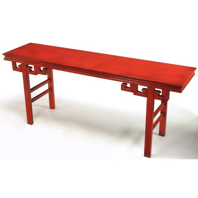 Asian Circa 1950s Chinese Altar Table In Cinnabar Lacquer For Sale - Image 3 of 9