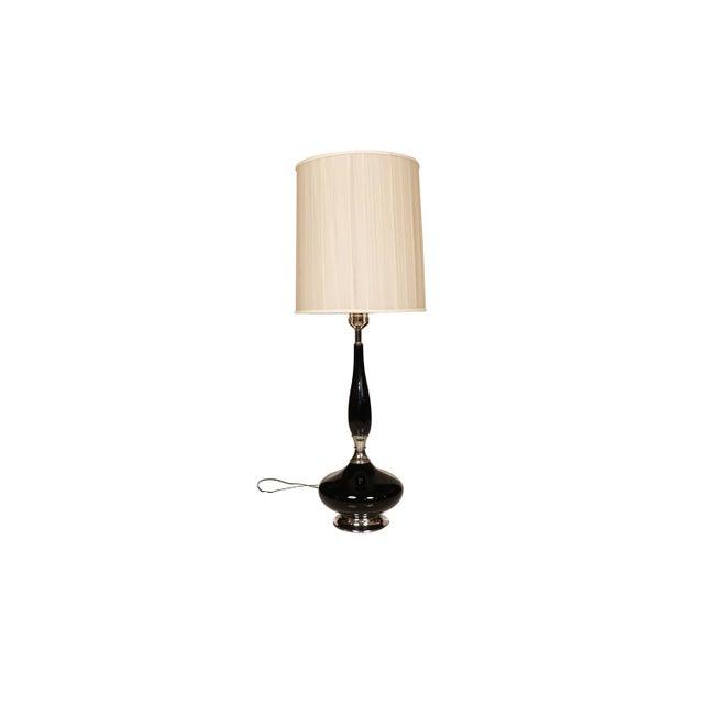 Mid Century Hollywood Regency Black Ceramic Chrome Table Lamp For Sale - Image 10 of 10