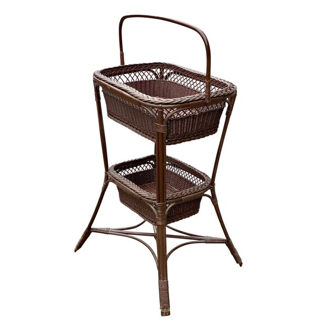 Vintage Victorian Wicker Rattan Basket Sewing Stand For Sale - Image 11 of 11