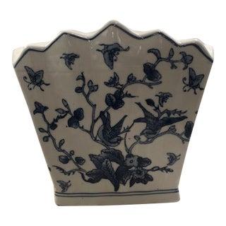 Vintage Blue & White Vase For Sale