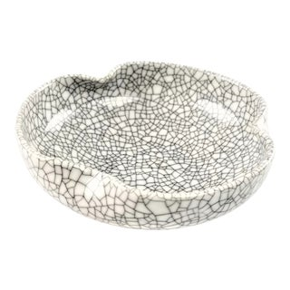 Vintage Raku Studio Pottery Bowl with Crackled Crystalline Glaze For Sale