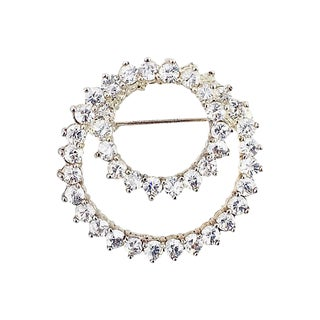 Sterling & Cubic Zirconia Circle Brooch For Sale