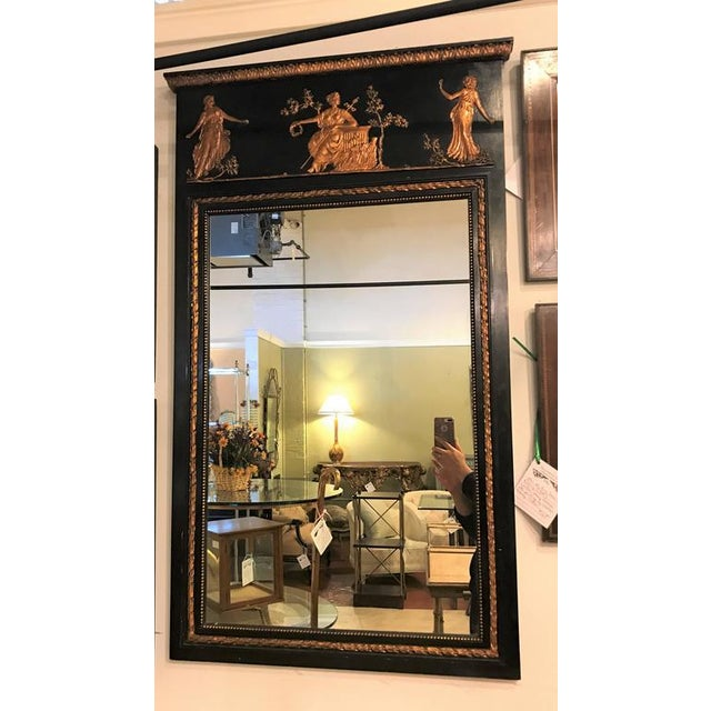 French Ebonized Neoclassical Style Wall or Console Mirror For Sale - Image 11 of 11