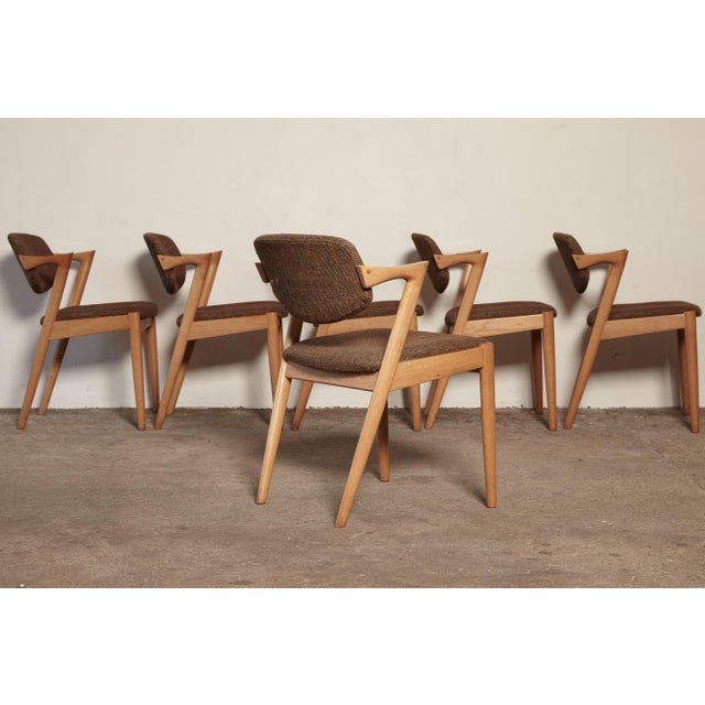 Fabric Set of Six Model 42 Oak Dining Chairs by Kai Kristiansen, Denmark, 1960s For Sale - Image 7 of 9