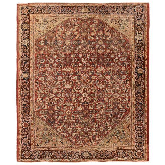 Early 20th Century Antique Persian Mahal Rug-8′9″ × 10′5″ For Sale