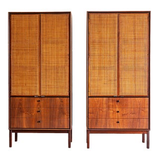 1960s Mid Century Modern Jack Cartwright for Founders Walnut Armoire Dressers - a Pair For Sale