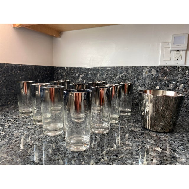 Silver Shade Down Cocktail Glasses & Ice Bucket - Set of 13 For Sale - Image 9 of 9