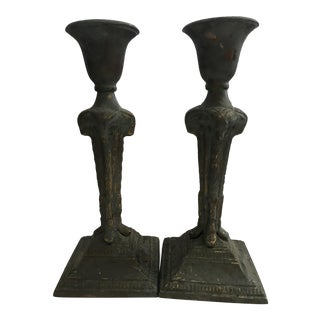 Brass Rams' Heads Candle Holders - A Pair For Sale