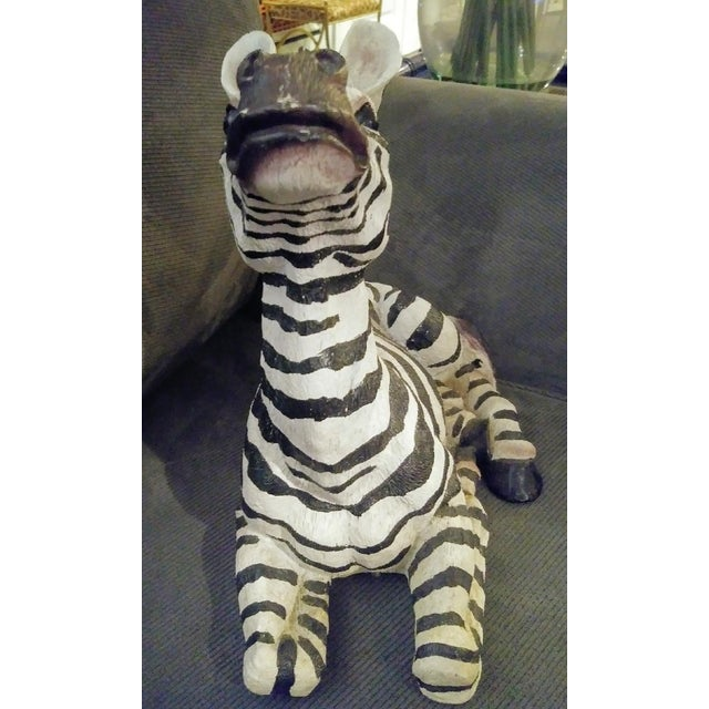 Resin 1980s Black and White Sitting Zebra Palm Beach Regency Statue For Sale - Image 7 of 8