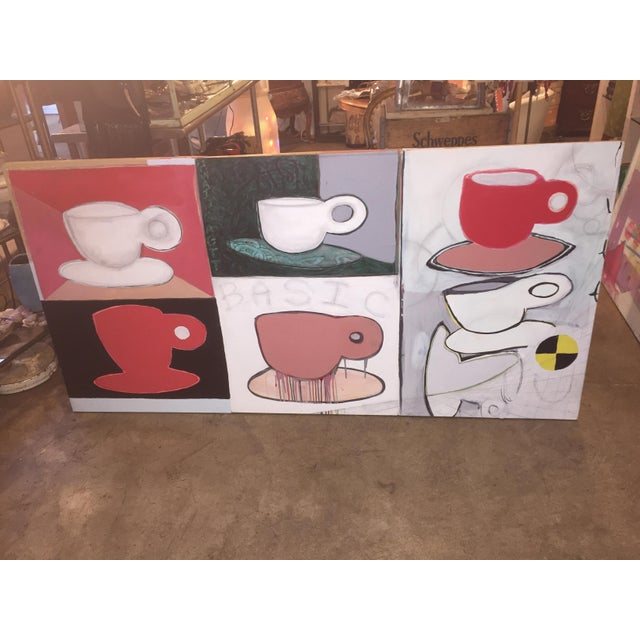 Original Pop Art Coffee Cups Painting by California Artist Casey O'Connor For Sale - Image 4 of 11