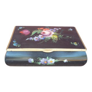 Floral Painted Metal Box For Sale