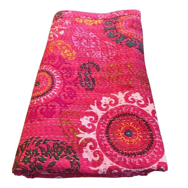 Indian Pink Kantha Blanket Throw - Image 1 of 5