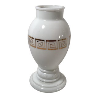 Neoclassical Style Greek Key White and Gold Vase For Sale