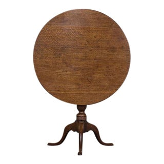 George III Antique English Oak Tilt Top Table circa 1790 For Sale