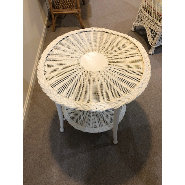 1960s Vintage Wicker Two Tier Table For Sale - Image 5 of 6