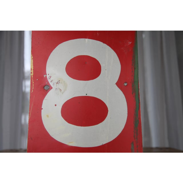 Industrial Vintage Number 8 Red Metal Sign From Airplane Hanger For Sale - Image 3 of 10