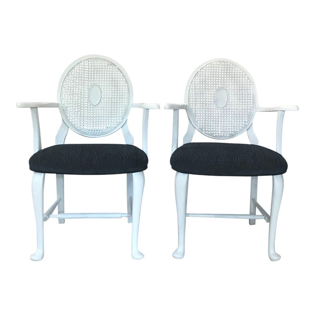 Mid-Century Caned Balloon Back Arm Chairs– a Pair For Sale