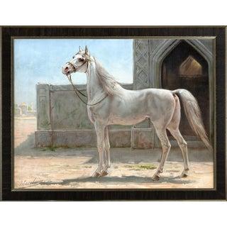 Persian Horse by Eerelman Framed in Italian Wood Vener Moulding For Sale