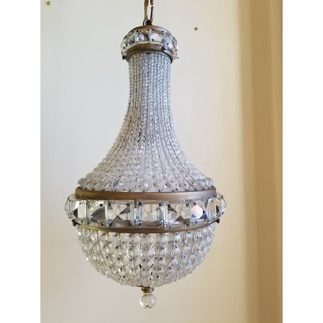 Antique,1920's,Empire style small crystal basket chandelier made in France. Made with strands of round cut crystals and...