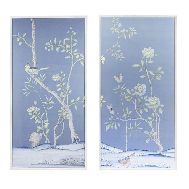 """Jardins en Fleur """"Furness"""" Chinoiserie Hand-Painted Silk Diptych by Simon Paul Scott - a Pair For Sale In Los Angeles - Image 6 of 6"""