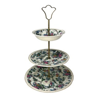 Three-Tiered Epergne Royal Tudor Ware Lorna Doone Chintz Birds Floral Cake Stand Tray Home Office For Sale