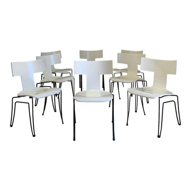 Vintage Donghia Anziano Dining Chairs in White - Set of 8 For Sale
