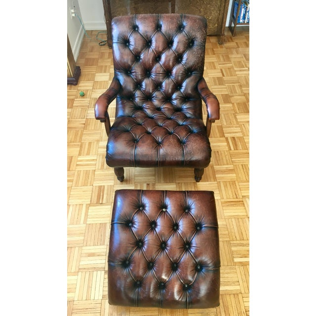 Leather Brown Chair & Foot Stool - Image 2 of 5