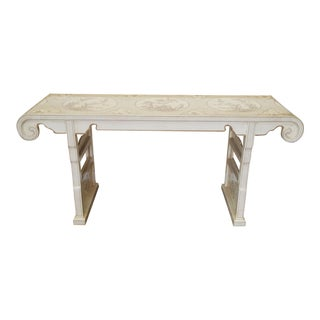 1980s Drexel Heritage White Asian Ming Alter Console Table For Sale