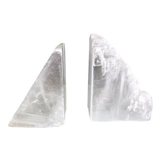 Contemporary Selenite Mineral Bookends - a Pair