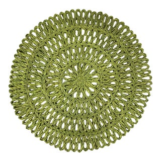 Green Woven Round Placemats/Chargers, S/8 For Sale