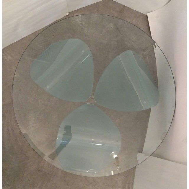 Organic-Shape Frosted Glass Coffee Table For Sale - Image 4 of 5