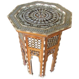 Moroccan Inlay Side Tables in Mother-Of-Pearl For Sale
