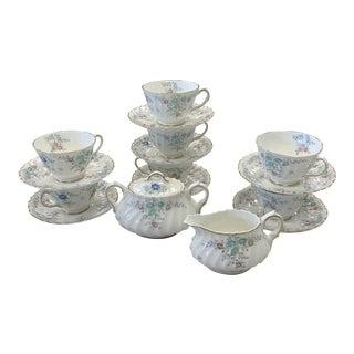 1950s Vintage Royal Doulton Pastoral Porcelain Tea Set - 16 Pieces For Sale