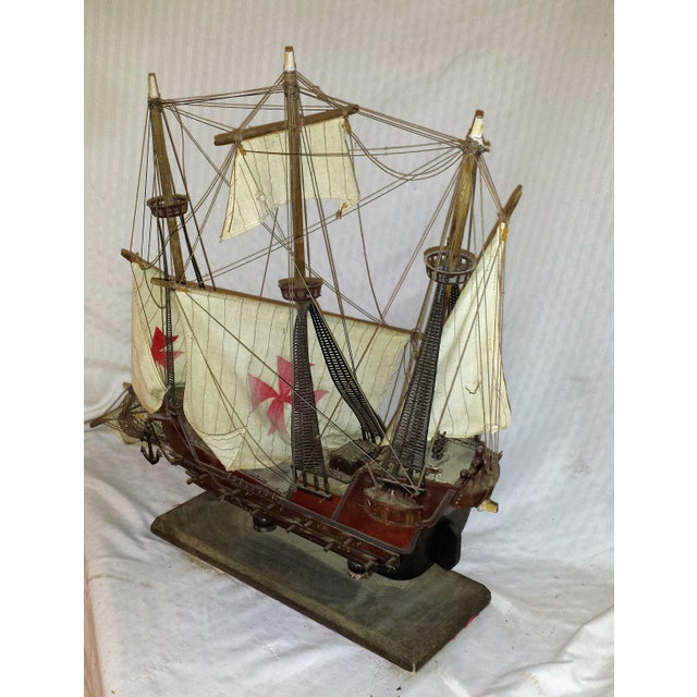 Nautical Antique Wooden European Ship Galleon For Sale - Image 3 of 11