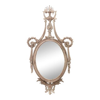 English Adam Bleached Wall Mirror For Sale