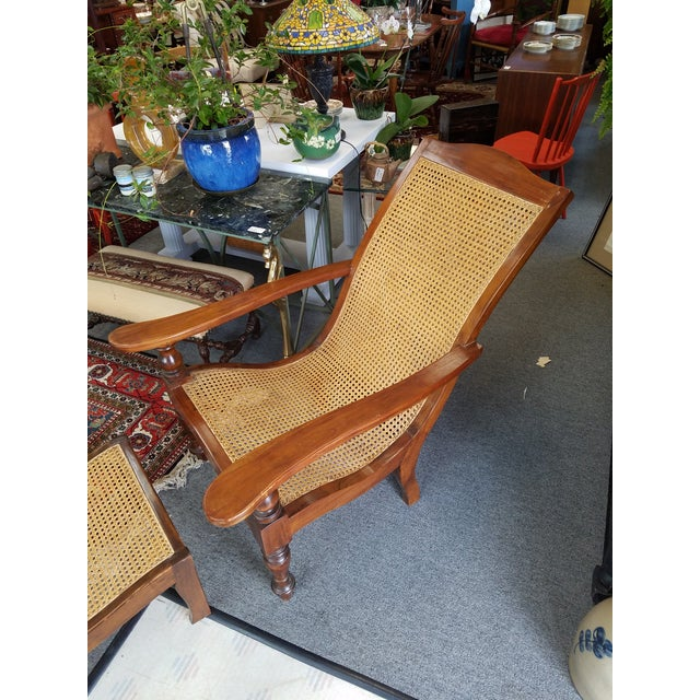 British Colonial Teak Plantation Chair & Ottoman For Sale - Image 3 of 11