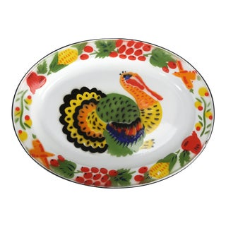 1950s American Enamelware Turkey Platter For Sale
