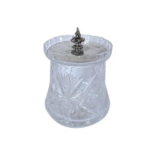 1930s English Cut Crystal Biscuit Barrel W/ Silver-Plate Lid