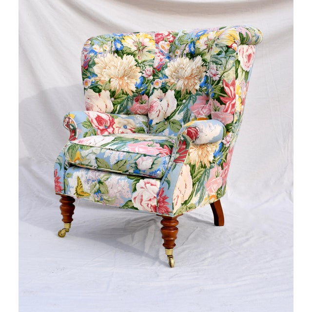 English Baker Furniture Floral Tufted Wingback Chair on Brass Casters For Sale - Image 3 of 13