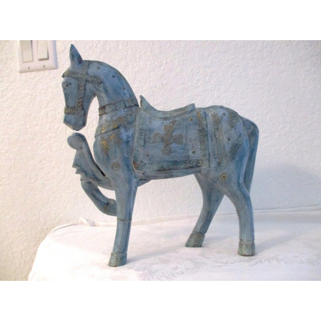 Blue 1990s Antique Blue Wood & Brass Tang Stallion For Sale - Image 8 of 8