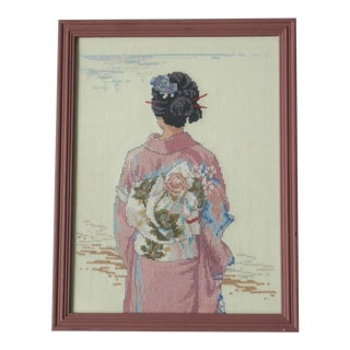 Vintage Cross Stitch Japanese Woman in Kimono