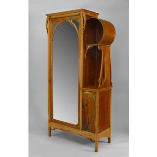French Art Nouveau Maple and Inlaid Armoire Cabinet Preview